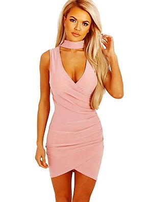 cheap Women's Dresses-Women's Bodycon Dress - Sleeveless V Neck Slim Black Blushing Pink Orange S M L XL