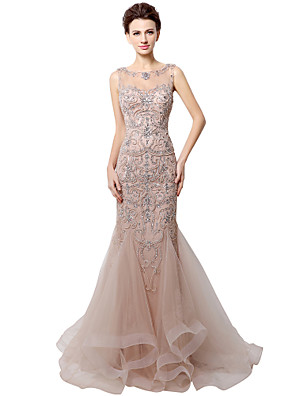 cheap Evening Dresses-Mermaid / Trumpet Elegant Luxurious Engagement Formal Evening Dress Jewel Neck Sleeveless Court Train Tulle with Crystals Beading Sequin 2020