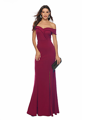 cheap Women's Dresses-Women's Maxi Swing Dress - Sleeveless Solid Colored Backless Split Off Shoulder Vintage Sophisticated Cocktail Party Prom Wine Pink Navy Blue S M L XL XXL