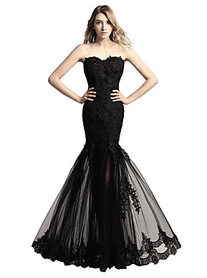 cheap Evening Dresses-Mermaid / Trumpet Floral Sexy Engagement Formal Evening Dress Sweetheart Neckline Sleeveless Floor Length Tulle with Sequin Appliques 2020