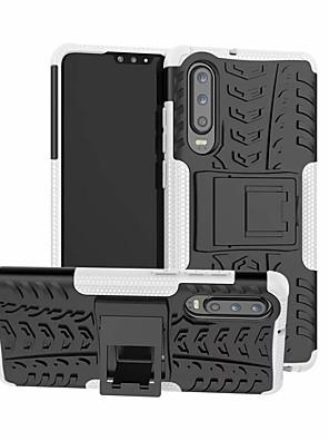 رخيصةأون Huawei أغطية / كفرات-غطاء من أجل Huawei هواوي P30 / Huawei P30 Pro / هواوي P30 لايت ضد الصدمات / مع حامل غطاء خلفي لون سادة قاسي بلاستيك