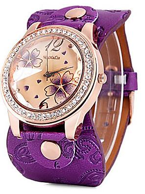 cheap Quartz Watches-Women's Quartz Watches Flower Fashion Black White Blue PU Leather Quartz Black Red Purple Casual Watch 1 pc Analog One Year Battery Life