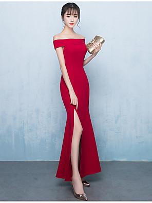 cheap Bridesmaid Dresses-Mermaid / Trumpet Off Shoulder Ankle Length Chiffon Bridesmaid Dress with Split Front / Ruffles