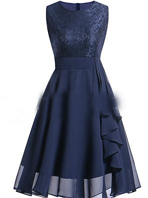 cheap Women's Dresses-Women's A Line Dress - Sleeveless Floral Print Spring & Summer Basic Slim 2020 Wine Purple Blushing Pink Navy Blue S M L XL XXL