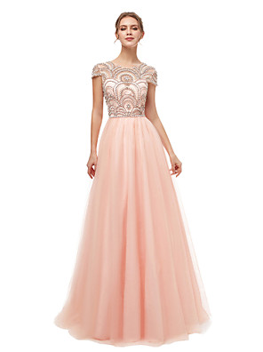 cheap Wedding Dresses-A-Line Luxurious Sparkle Engagement Formal Evening Dress Illusion Neck Short Sleeve Floor Length Tulle with Beading 2020