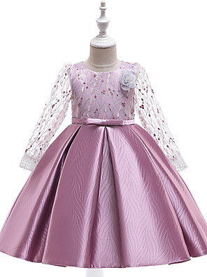 cheap Flower Girl Dresses-Ball Gown Midi Christmas / Birthday / Pageant Flower Girl Dresses - Cotton Blend / Tulle 3/4 Length Sleeve Jewel Neck with Lace / Bow(s) / Pleats