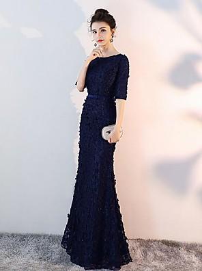 cheap Bridesmaid Dresses-Mermaid / Trumpet Bateau Neck Floor Length Satin Bridesmaid Dress with Ruching