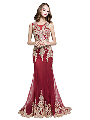 cheap Evening Dresses-Mermaid / Trumpet Chinese Style Formal Evening Dress Jewel Neck Sleeveless Sweep / Brush Train Tulle with Crystals Appliques 2020