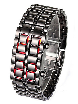 cheap Couple Watches-Couple's Dress Watch Digital Stainless Steel Black / Silver LED Light Luminous Digital Fashion - Silver Red Blue One Year Battery Life