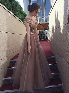 cheap Bridesmaid Dresses-A-Line Bateau Neck Floor Length Tulle / Sequined Bridesmaid Dress with Sequin