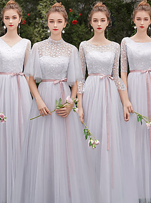 cheap Bridesmaid Dresses-A-Line Jewel Neck Floor Length Tulle Bridesmaid Dress with Sash / Ribbon / Appliques