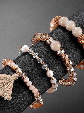 cheap Quartz Watches-4pcs Women's Bead Bracelet Vintage Bracelet Earrings / Bracelet Layered Blessed Classic Tassel Vintage Cute Elegant Glass Bracelet Jewelry Champagne For Daily School Street Holiday Festival