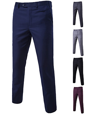 cheap Shirts-Men's Basic Suits / Chinos Pants - Solid Colored Black Wine Purple M L XL