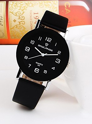cheap Quartz Watches-Women's Quartz Watches Quartz Minimalist Casual Watch PU Leather Black / White / Brown Analog - Black+White White Black One Year Battery Life / Stainless Steel