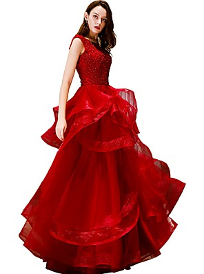 cheap Evening Dresses-Ball Gown Open Back Prom Formal Evening Dress Jewel Neck Sleeveless Floor Length Tulle with Pick Up Skirt Sequin Appliques 2020