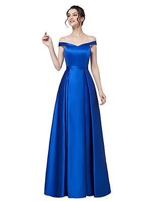 cheap Evening Dresses-A-Line Elegant Minimalist Wedding Guest Formal Evening Dress Off Shoulder Short Sleeve Floor Length Satin with Sleek 2020