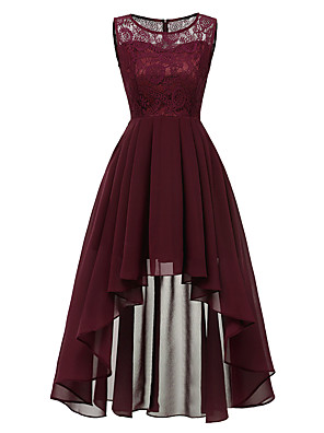 cheap Bridesmaid Dresses-A-Line Hot Red Wedding Guest Cocktail Party Dress Jewel Neck Sleeveless Asymmetrical Chiffon Lace with Pleats Lace Insert 2020