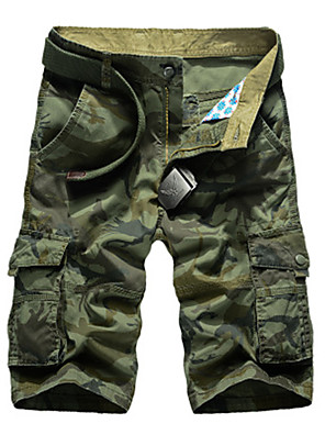 "cheap Hiking Trousers & Shorts-Men's Hiking Shorts Hiking Cargo Shorts Camo Summer Outdoor 10"" Relaxed Fit Breathable Comfortable Multi-Pocket Wear Resistance Cotton Shorts Bottoms Army Green Khaki Camping / Hiking Hunting Fishing"