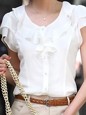 cheap Women's Blouses & Shirts-Women's Blouse Solid Colored Tops Chiffon White