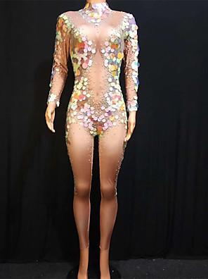 cheap Prom Dresses-Exotic Dancewear Leotard / Onesie Crystals / Rhinestones Paillette Women's Performance Long Sleeve Spandex