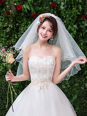 cheap Wedding Veils-Two-tier Classic & Timeless Wedding Veil Elbow Veils with Beading Tulle / Angel cut / Waterfall