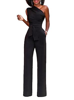 povoljno Ženski jednodijelni kostimi-Žene Crn Lila-roza Obala Jumpsuits Onesie, Jednobojni Wide Leg / Spuštena ramena S M L Pamuk
