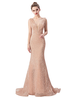 cheap Evening Dresses-Mermaid / Trumpet Beautiful Back Sparkle Engagement Formal Evening Dress V Neck Sleeveless Sweep / Brush Train Sequined with Sequin 2020