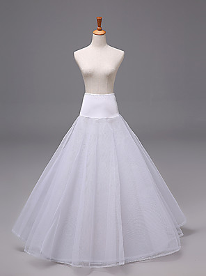 cheap Wedding Slips-Bride Classic Lolita 1950s Dress Petticoat Hoop Skirt Crinoline Women's Girls' Tulle Costume White Vintage Cosplay Wedding Party Princess