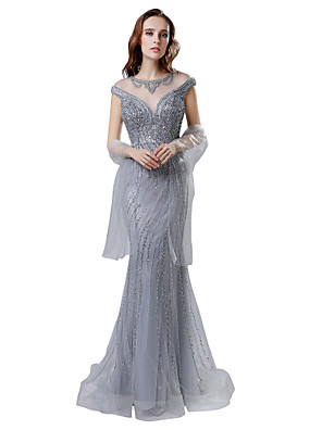 cheap Evening Dresses-Mermaid / Trumpet Elegant & Luxurious See Through Formal Evening Dress Jewel Neck Short Sleeve Court Train Tulle with Crystals Beading Sequin 2020