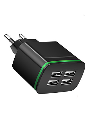 cheap Fast Chargers-Portable Charger USB Charger EU Plug Multi-Output 4 USB Ports 2.1 A 100~240 V for Universal
