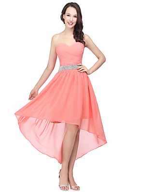 cheap Cocktail Dresses-A-Line Cute Cocktail Party Prom Dress Sweetheart Neckline Sleeveless Asymmetrical Chiffon with Ruched Beading 2020