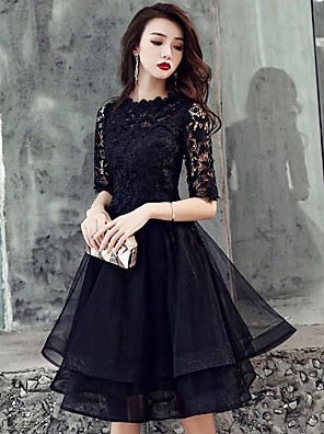 cheap Cocktail Dresses-A-Line Hot Black Homecoming Cocktail Party Dress Scalloped Neckline Half Sleeve Short / Mini Lace Tulle with Tier Lace Insert 2020