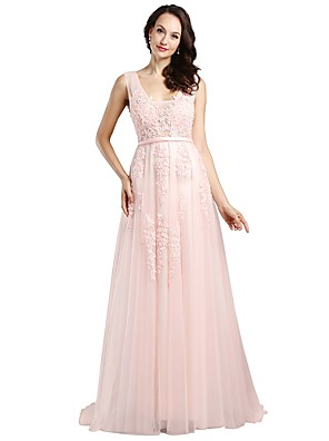 cheap Prom Dresses-A-Line Elegant Formal Evening Wedding Party Dress V Neck Sleeveless Sweep / Brush Train Lace Tulle with Pearls Beading Sequin 2020