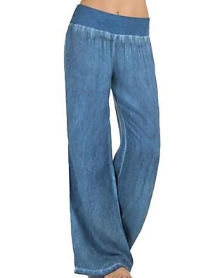 cheap Women's Blouses-Women's Basic Plus Size Wide Leg Pants - Solid Colored Blue Black XXXL XXXXL XXXXXL