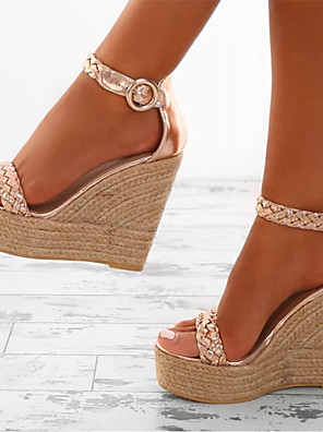 cheap Bras-Women's Sandals Wedge Sandals Spring &  Fall / Spring & Summer Wedge Heel Open Toe Sweet Minimalism Daily Office & Career Buckle Solid Colored PU White / Gold