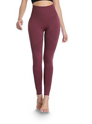 cheap Leggings-Women's High Waist Running Tights Leggings Athletic Pants / Trousers Tights Leggings Seamless Nylon Fitness Gym Workout Tummy Control Butt Lift Sport Black Yellow Burgundy Dark Navy Solid Colored