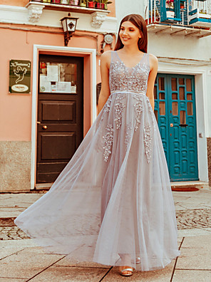 cheap Bridesmaid Dresses-A-Line Scoop Neck Floor Length Tulle Bridesmaid Dress with Appliques