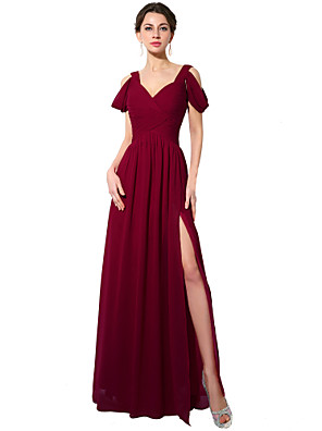 cheap Prom Dresses-A-Line Maxi Red Holiday Formal Evening Dress V Neck Short Sleeve Floor Length Chiffon with Pleats Split 2020