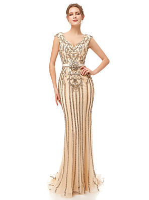cheap Evening Dresses-Mermaid / Trumpet Elegant & Luxurious Sexy Formal Evening Dress Plunging Neck Sleeveless Court Train Tulle with Sash / Ribbon Crystals Beading 2020