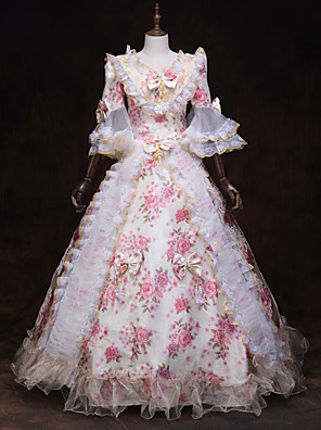 cheap Historical & Vintage Costumes-Fairytale Renaissance Dress Outfits Party Costume Masquerade Women's Costume White Vintage Cosplay 3/4 Length Sleeve