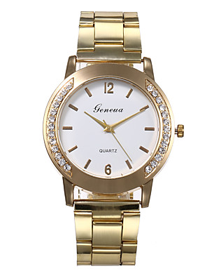 cheap Quartz Watches-Women's Quartz Watches Quartz Stylish Glitter Casual Diamond Gold Analog - White Black Gold One Year Battery Life / Jinli 377