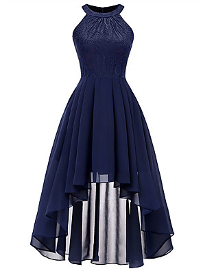 cheap Party Dresses-A-Line Minimalist Blue Holiday Cocktail Party Dress Halter Neck Sleeveless Asymmetrical Chiffon Lace with Pleats 2020