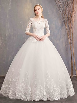 cheap Wedding Dresses-Ball Gown Wedding Dresses Bateau Neck Maxi Lace Tulle Half Sleeve Glamorous Illusion Sleeve with Lace 2020