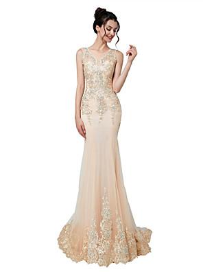 cheap Wedding Dresses-Mermaid / Trumpet Elegant Glittering Engagement Formal Evening Dress Illusion Neck Sleeveless Court Train Tulle with Beading Appliques 2020