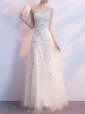 cheap Prom Dresses-A-Line Elegant White Wedding Guest Formal Evening Dress Illusion Neck Sleeveless Floor Length Tulle Floral Lace with Embroidery Pattern / Print 2020