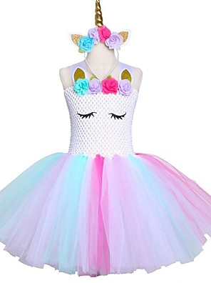 cheap Girls' Dresses-Pastel Unicorn Bustle Tutu Dresses Princess Children's Day Skirt Wear Headband