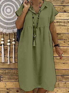cheap Summer Dresses-Women's Shift Dress - Short Sleeve Solid Colored Tassel Fringe V Neck Basic Slim Black Yellow Army Green Fuchsia Khaki L XL XXL XXXL XXXXL XXXXXL