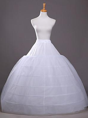 cheap Wedding Slips-Bride Classic Lolita 1950s 6 Hoop Dress Petticoat Hoop Skirt Crinoline Women's Girls' Tulle Costume White Vintage Cosplay Wedding Party Princess
