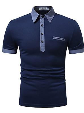 cheap Women's Blouses & Shirts-Men's Polo Tops Shirt Collar White Blue Navy Blue