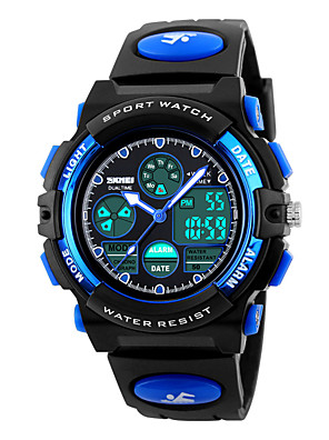 cheap Quartz Watches-SKMEI Sport Watch Digital Watch Quartz Fashion Water Resistant / Waterproof Quilted PU Leather Black Analog - Digital - Black Yellow Red Two Years Battery Life / Alarm / Calendar / date / day